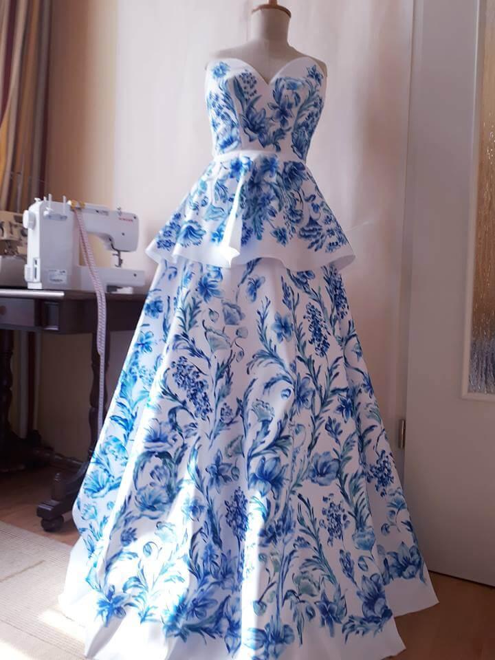 kékkel festett düsessz ruha 3fac06a866